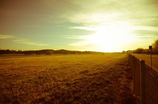 Photo free field, sunset, distance