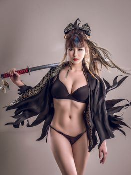 Girl samurai beautiful body · free photo