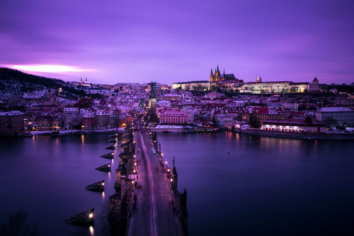 Обои Прага, зима, мост картинки на телефон