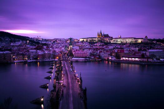 Заставки Прага, зима, мост