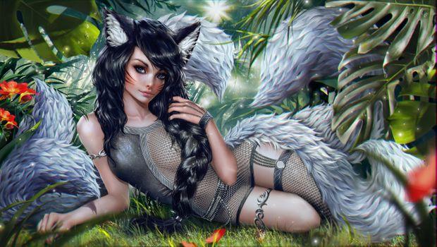 Фото бесплатно девушка кошка, фантастическая девушка, девушки