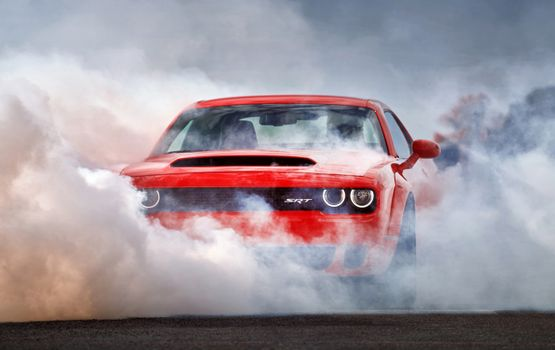 Photo free Dodge Challenger, red, smoke