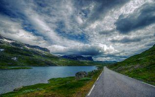 Заставки Норвегия, дорога, горы