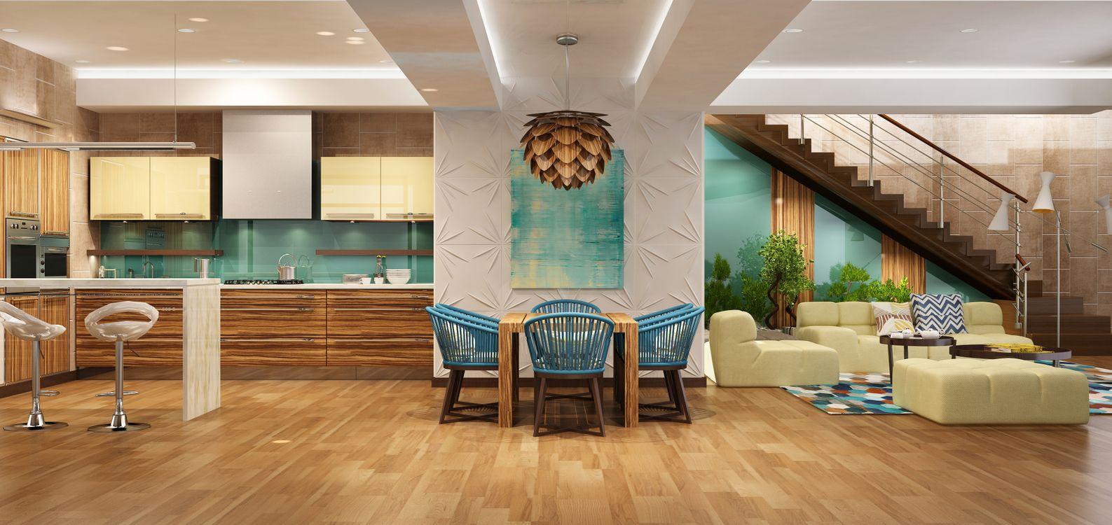 Фото бесплатно гостиная, кухня, мебель, диван, интерьер
