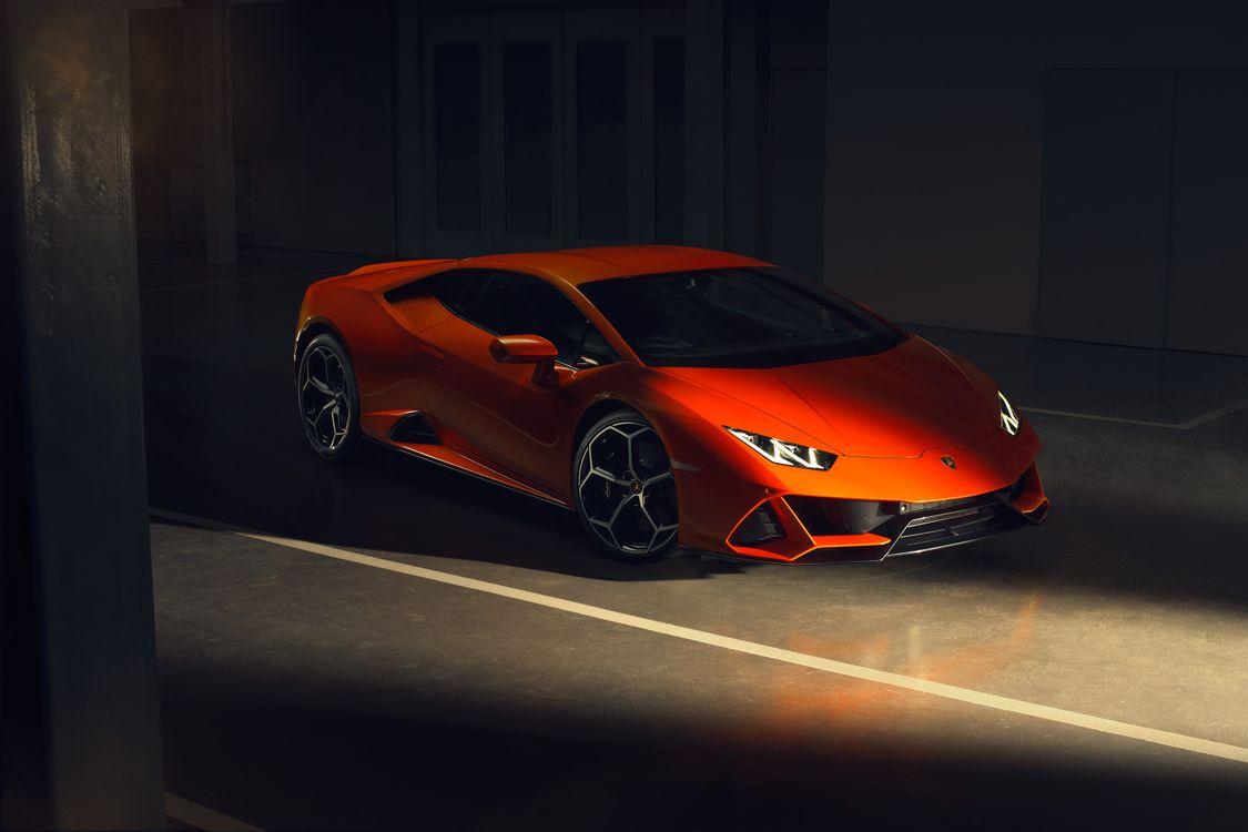 Photos for free Lamborghini Huracan, orange supercar side view, the tunnel - to the desktop