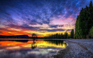 Фото бесплатно пляж, отражение неба, камушки
