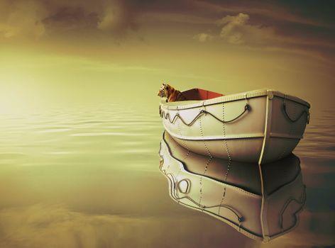 Photo free boat, bokeh, clouds