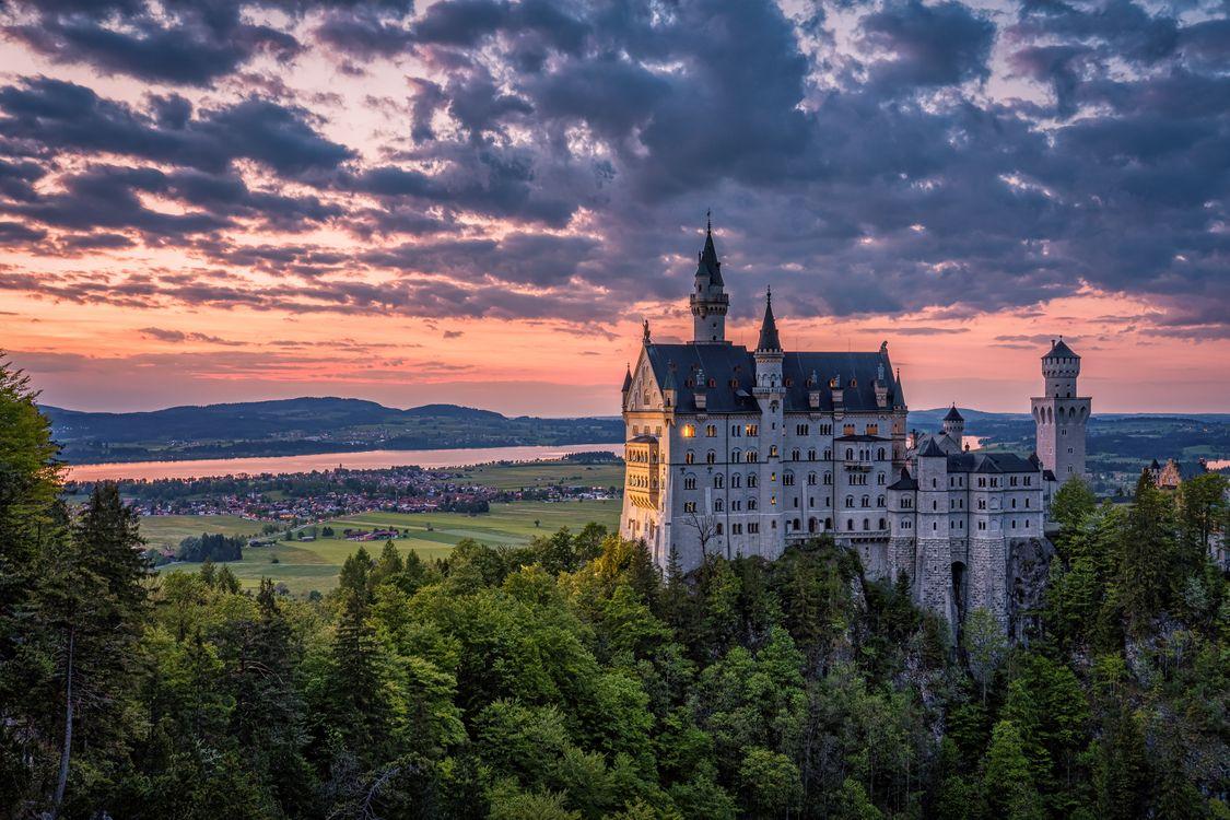 Фото бесплатно закат, небо, баварский сказочный замок Нойшванштайн - на рабочий стол