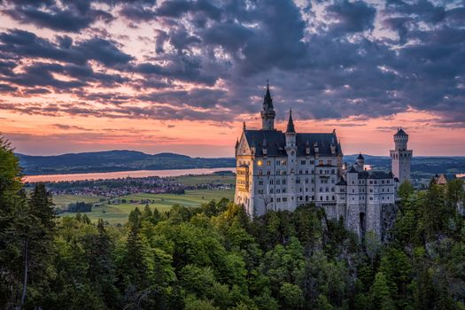 Photo free sunset, sky, Bavarian fairytale castle Neuschwanstein