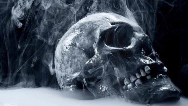 Фото бесплатно череп, дым, разное