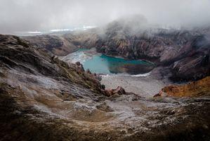 Бесплатные фото Landschaften,снег,облака,russium,вулкан,озеро,туман