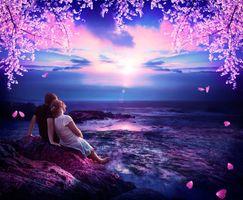 Бесплатные фото закат,море,влюблённая пара,парень и девушка,скалы,волны,фантазия