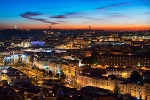 Фото бесплатно Лиссабон, Португалия, город, ночь, огни, иллюминация