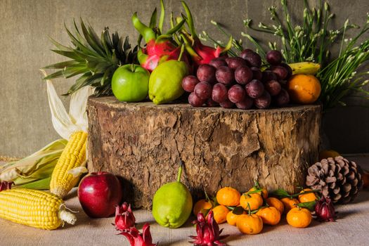 Photo free tangerines, corn, apples
