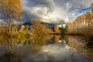Бесплатные фото осень,озеро,отражение,деревья,облака,небо,горы