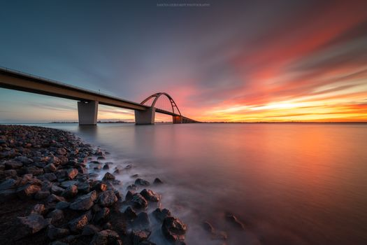 Фото бесплатно мост, закат, скалы