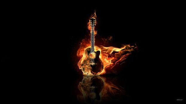 Фото бесплатно развлечения, огонь, гитары