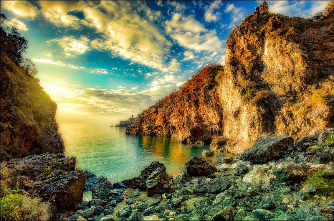 Обои Италия, море, скалы картинки на телефон