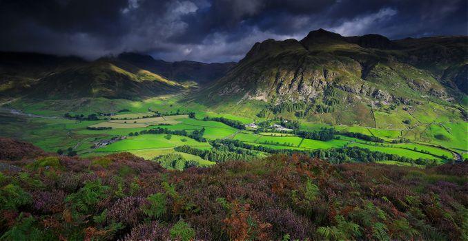 Заставки Национальный парк Лейк-Дистрикт на северо-западе Англии, поля горы, холмы