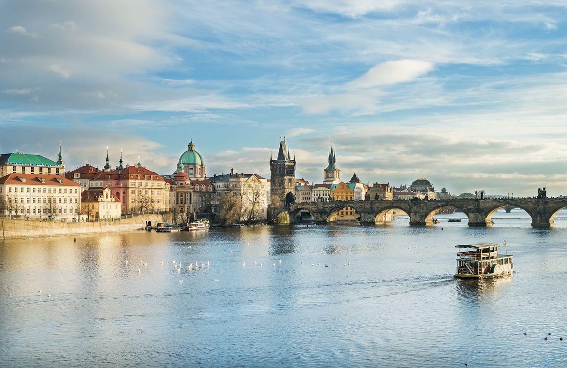 Обои Прага, Чехия, река картинки на телефон