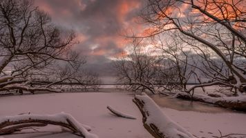 Бесплатные фото clouds,ice,lake,light sky,snow,sunset,tree