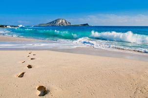 Фото бесплатно пляжи, облака, следы