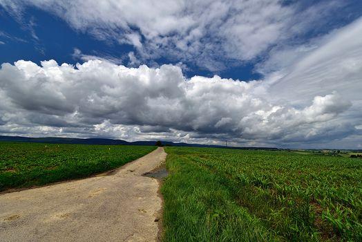 Бесплатные фото поле,дорога,небо,красивые облака,пейзаж