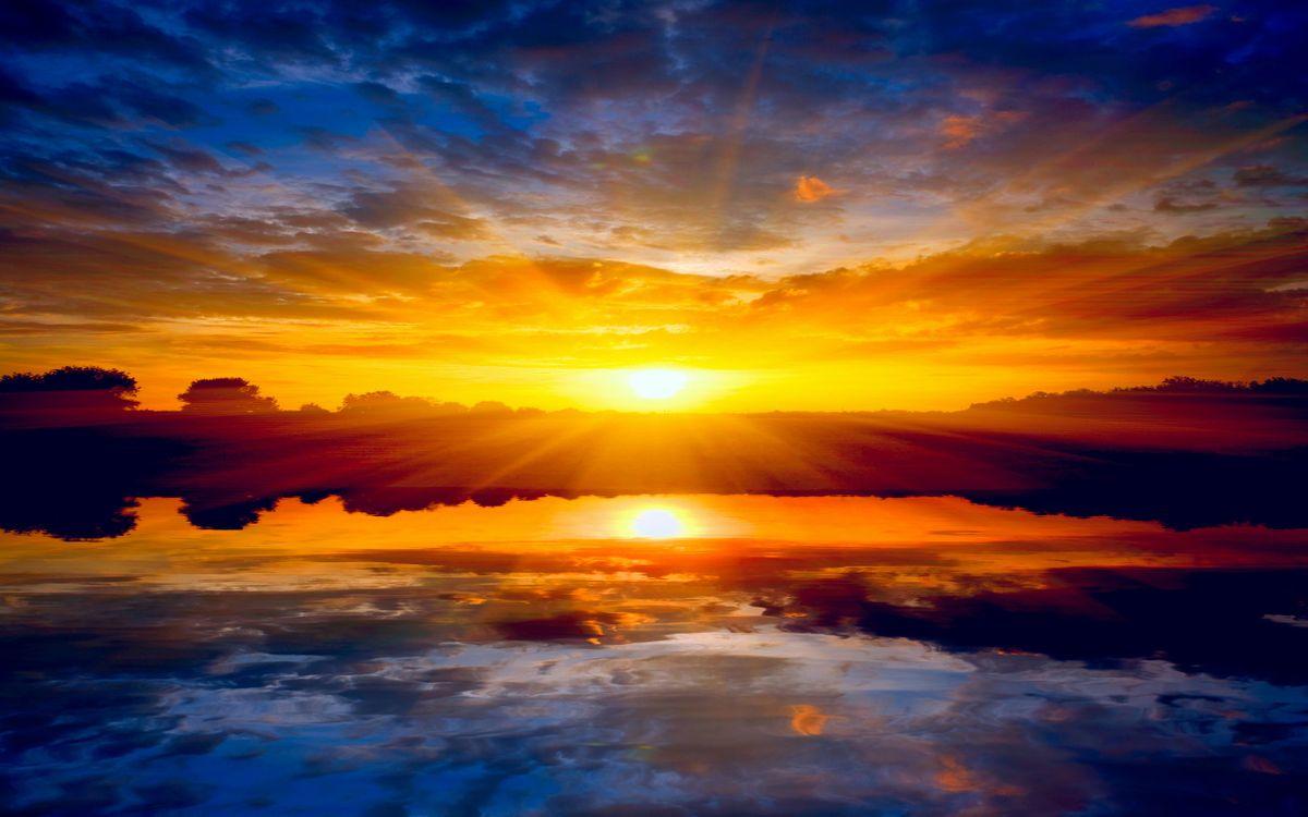 Обои прекрасный закат, отражение, озеро, деревья, пейзажи, природа, закат картинки на телефон