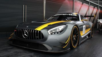 Mercedes AMG GT C with a yellow stripe on the hood