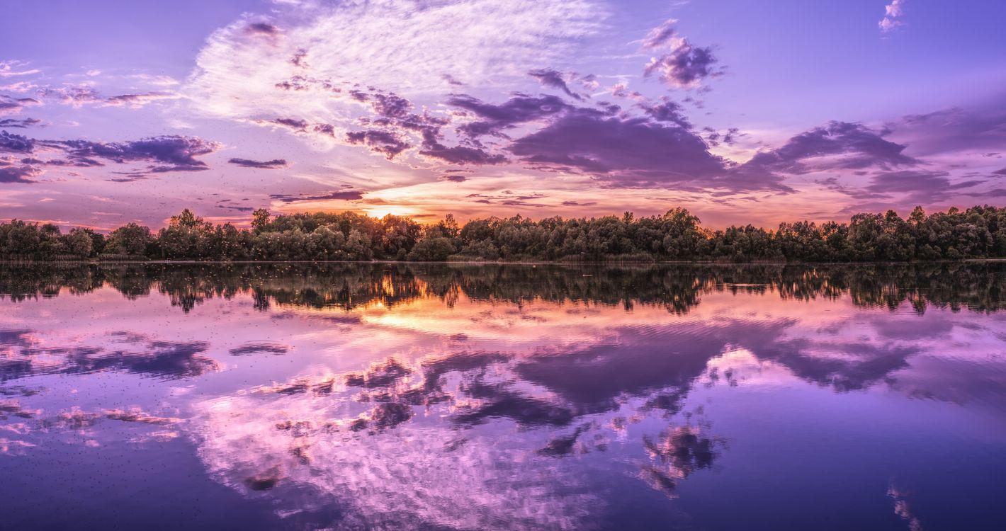 Обои панорама, озеро, закат солнца картинки на телефон