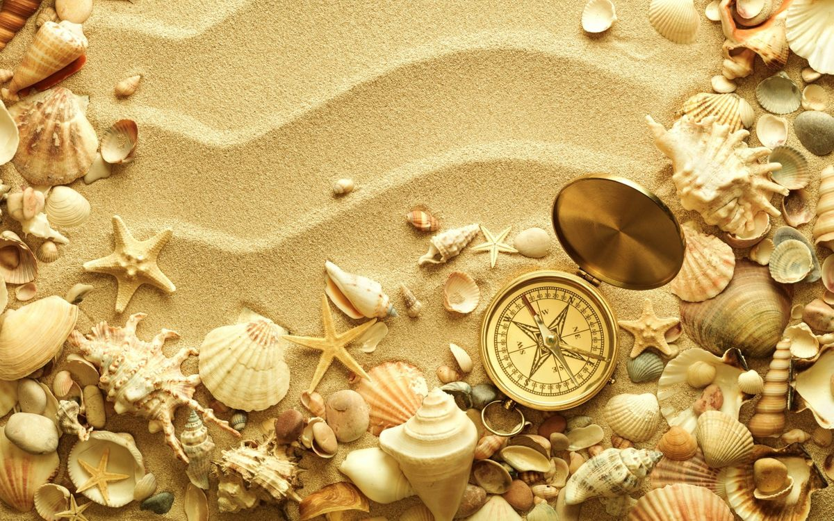 Компас и ракушки на песке · бесплатное фото