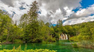 Фото бесплатно Плитвицкие озера, Национальный парк Плитвицкие озера, Plitvice Lakes national park, Croatia, Хорватия, водопад, пейзаж