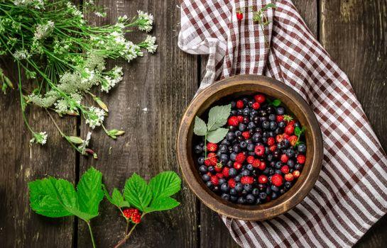 Photo free wood, bowl, berries