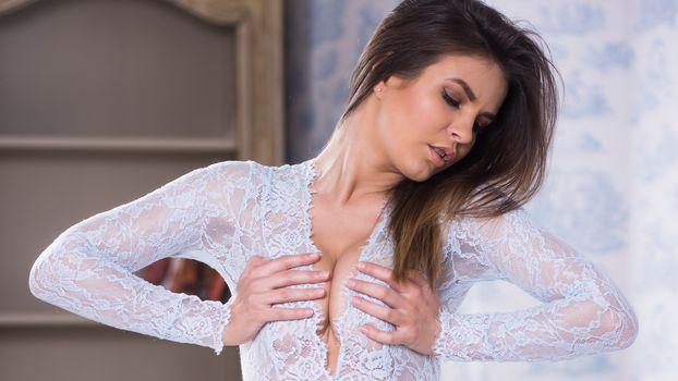 Очень красивая шатенка Зельда в нижнем белье · бесплатное фото