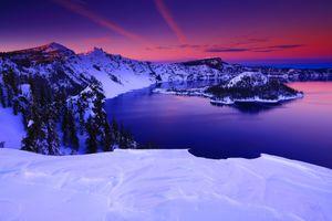 Фото бесплатно Crater Lake National Park, Oregon, закат