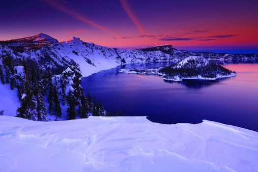Заставки Crater Lake National Park, Oregon, закат