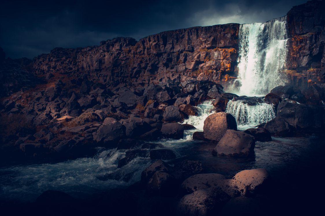 Фото бесплатно Исландия, водопад, скалы - на рабочий стол