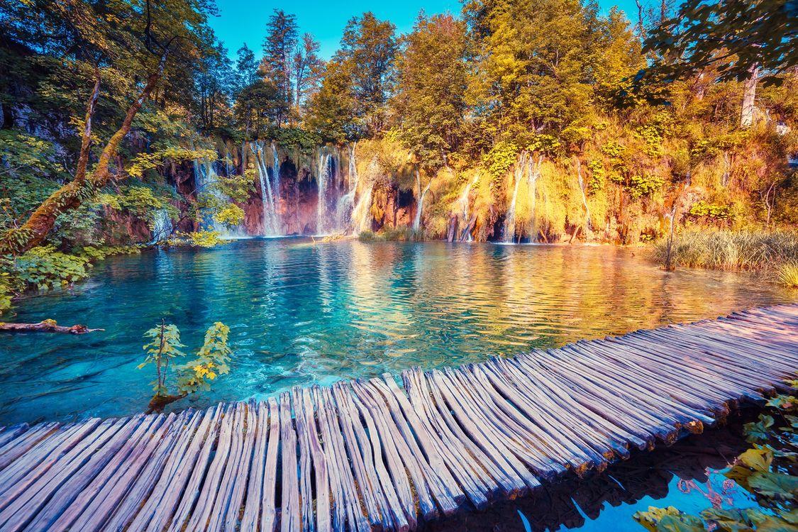 Фото бесплатно мост, Национальный парк Плитвицкие озера, водопад - на рабочий стол