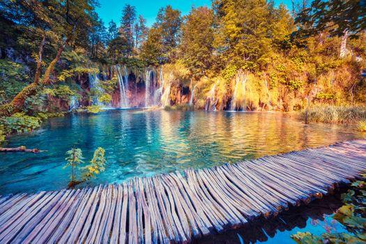 Фото бесплатно мост, Национальный парк Плитвицкие озера, водопад