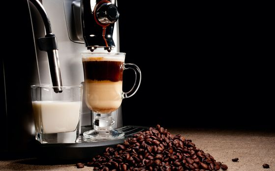 Photo free espresso, coffee beans, milk