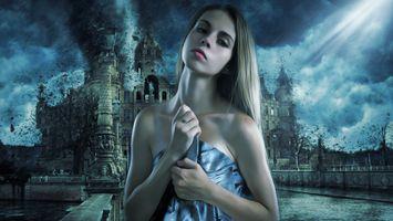 Фото бесплатно женщина, красивая, фантазия, искусство, девочка, портрет, буря, апокалипсис, конца дней, темно, тайна, таинственный, армагеддон, уничтожения, дождь, ветер