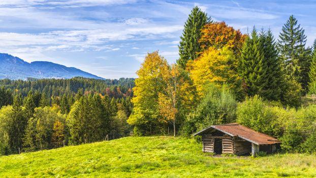 Заставки хижина,альпийский,горы,Бавария,деревья,осень,красочный,красивый,идиллия,холмы деревья природа,пейзаж