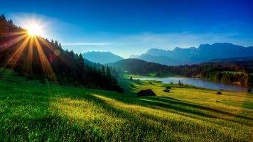 Фото бесплатно sunrise, Garmisch-Partenkirchen, Geroldsee, Alpen, Bavaria, Germany