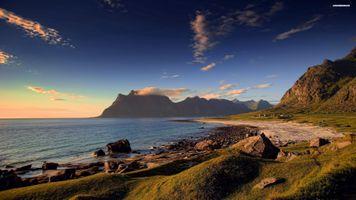 Фото бесплатно пляж, Аргентина, берег, береговая линия, скалы, песок, трава
