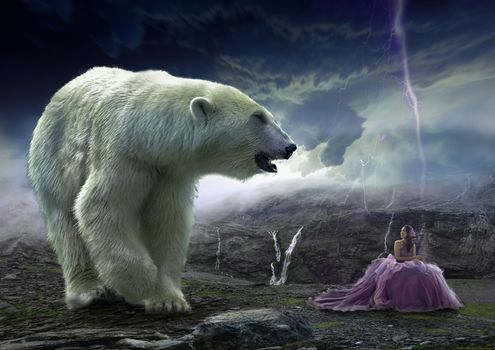 Бесплатные фото млекопитающее,на открытом воздухе,природа,живая природа,животное,полярный медведь,молния,женщина,небо,облака,фотошоп,девушка