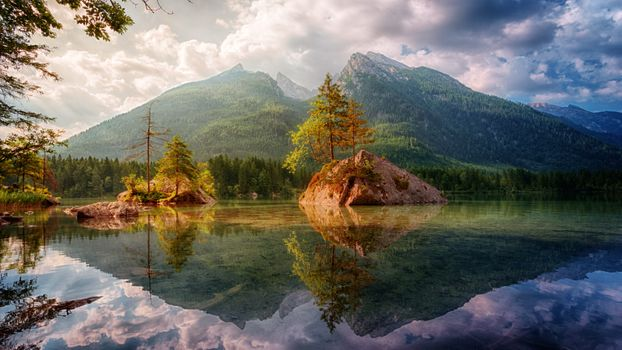 Бесплатные фото Hintersee,скалы,островки,озеро,облака,сельская местность,отражение,Bavaria,горы,деревья,пейзаж,bergsee