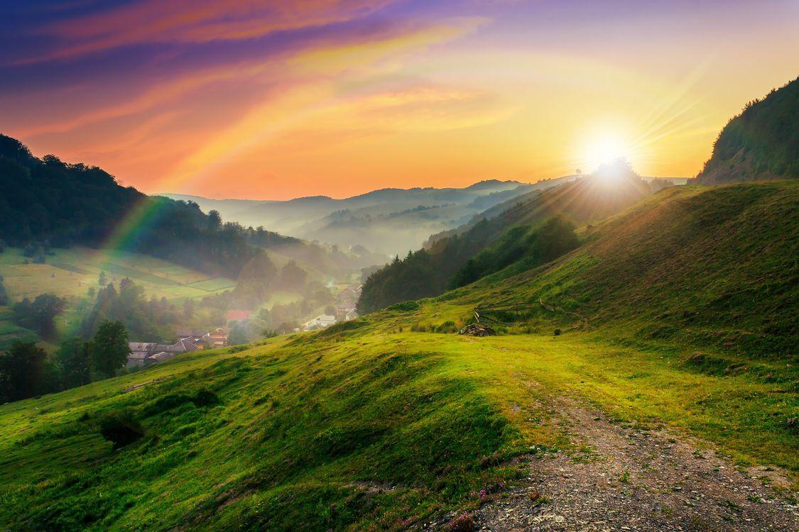 Фото бесплатно луг, горы, природа - на рабочий стол