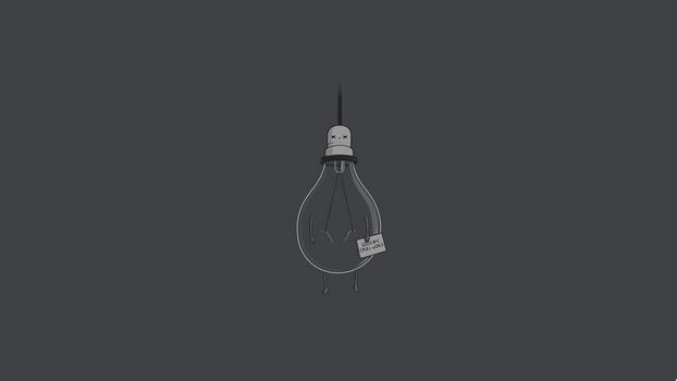 Заставки простой, минимализм, юмор, лампочка, черный юмор