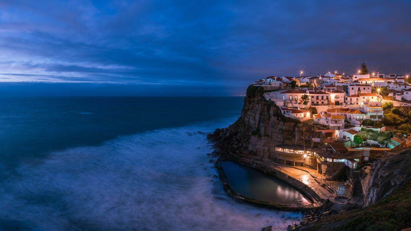 Фото бесплатно Azenhas do Mar, Portugal, ночные города, Азенаш-ду-Мар, Португалия, город