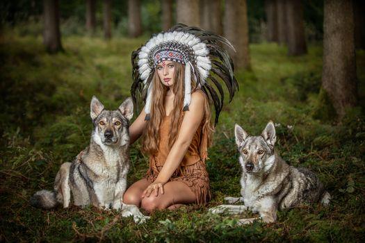 Девушка индеец и волки